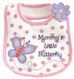 Girls Cartoon Butterfly Applique Embroidered Cotton Soft Custom Baby Bib