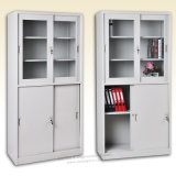 Sliding Door Filing Cabinets with Upper Double Framed Glass