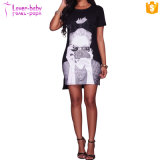 Cece Black Graphic T-Shirt Dress L28206