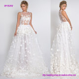 3D Flowers with Crystals Wedding Dress