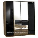 Wooden High Gloss 4 Door Mirrored Combi Wardrobe (WB04)