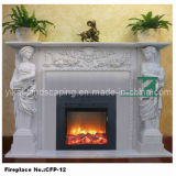 Stone Figure Fireplace Electric Fireplace Mantel Carved by Marble (YKFP-11)