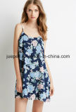 Chifon Rose Print Cami Dress with Adjustable Spaghetti Straps