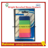 Bright Beveled Neon Erasers for Statioery Supply