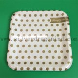 White Cardboard Square Paper Plate with Glossy Lamination