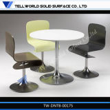 White Acrylic Solid Surface Round Dining Table for Restaurant Furniture