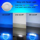 6W Ring LED Panel Light 3W Outer Blue Ring 3W Inner White