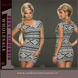 Top Quality Sexy Geometric Flower Casual Summer Dress (N140)