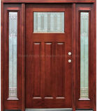 Stained Mahogany Wooden Door with One Lite Two Side Lites