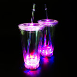 Acrylic Straw Tumbler with LED Bottom Promotional LED Tumbler