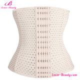 Elegant White Waist Trimmer Ventilate Shapewear Corset Plus Size Waist Cincher