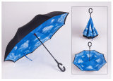 New Design Custom Logo Printed Inverted Umbrella with C Handle for Wholesale