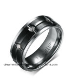 CNC Machine Jewelry Matte Finish Black Titanium Ring