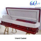 High Gloss African Mahogany Luxury Velvet Casket and Coffin