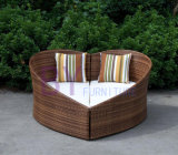 by-496 Creative Heart-Shaped Garden PE Rattan Outdoor Daybed