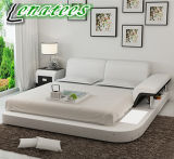Lb8806 American Style Genuine Leather Bed with LED Light and Arm
