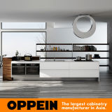 Oppein Fashionable Stream-Lined White Lacquer Wood Kitchen Cabinet (OP16-L17)