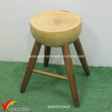 Handcrafted Vintage Round Wooden Stools with Natural Finish