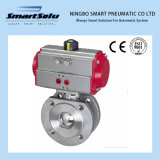 Wafer Flanged End 316 Material Pneumatic Acuator, Pneumatic Ball Valve