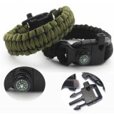 Compass Bracelet 5 in 1 Survival Flint Fire Starter Paracord Whistle Gear Buckle Camping Ignition Equipment Rescue Rope EDC Camp