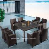Cheap Aluminum Wicker Rattan Square Dining Chair& Table Set Garden Furniture by 8 Person (YTA020-1&YTD020-3) as K/D