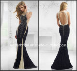 Mermaid Mother of Bride Dresses Black Nude Evening Dress Z32016