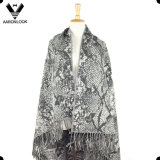 Women′s 100%Acrylic Snakeskin Jacquard Patterns Large Shawl