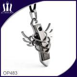 Op483 Three Heart Black Cross Pendant with Wings