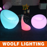 LED Glowing Home Oval Glass Top Coffee Table