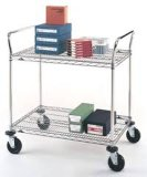 Adjustable Chrome Office Metal Utility Cart