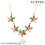 43017 Fashion Elegant 24k Gold-Plated Women CZ Leaf-Shaped Imitation Jewelry Chain Necklace