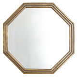 Hot Sales Antique Gold Octagonal Frame Wall Mirror with Narrow Wood Strings Decorated