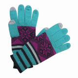 Lady Fashion Jacquard Knitted Touch Screen Warm Gloves (YKY5427)