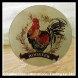 4mm Round Glass Cutting Board with Rooster Decal Pattern