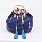 Alibaba China Supply Blue PU Leather Bucket Bag Tessel Bag Drawsting Bag
