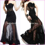 Black Evening Dress Sheer Lace Party Cocktail Prom Gowns E52754