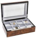 Deluxe Men′s/Women′s Burl 8 Watch Case Watch Box Clear Glass Top