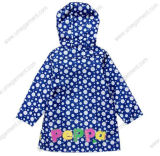 Kids Printed PU Raincoat with Hood and Cartoon Print (UUR07)