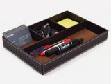 Black Stitching Leather Desk Stationery Collection Tray