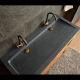 Bathroom Dark Grey Granite Double Vessel Sink