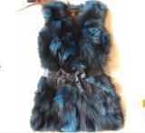 Contrast Color Silver Fox Fur Vest Qy-V22