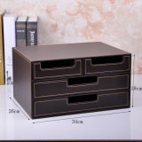 Luxury Brown Leather Office Storage Drawer Box