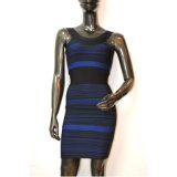 Elegant Stretch Round Collar Stripe Bodycon Dresses