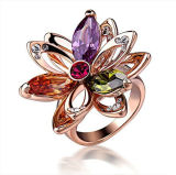 2014 New Fashion 925 Sterling Silver Ring with AAA CZ with Gold Plated Wholesale Jewelry for Women