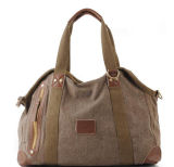 Lady's Canvas Handbag Export Women Tote Stitching PU Leather Bag (RS-RT0026)