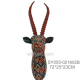 Hand Fabric Kudu Skull Head Resin Wall Hanging Arts and Crafts Home Decoration