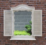 Antique White Window Wooden Mirror for Using
