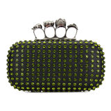 Greenish Skull Studded Evening Clutch Bag