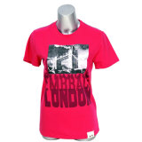 Fashion Polyester/Cotton Women Red Short Sleeve T-Shirt