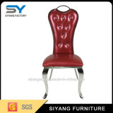 Home Furniture Red Leather Metal Dining Chair